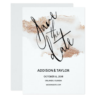Rose gold crystal gray save the date watercolor card