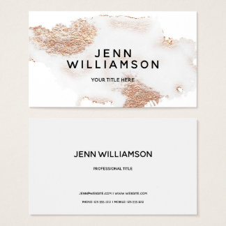 Rose gold crystal gray watercolor modern style business card