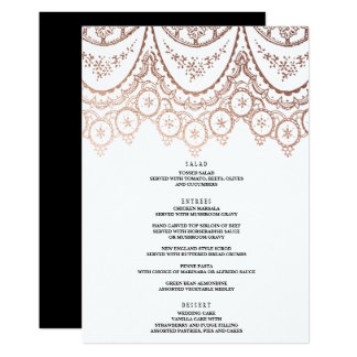 Rose Gold Delicate Lace Wedding Menu Card