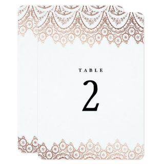 Rose Gold Delicate Lace Wedding Table Number Card