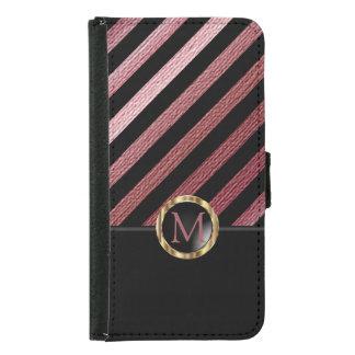 Rose Gold & Diagonal Black Stripe Pattern Samsung Galaxy S5 Wallet Case