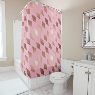 rose gold diamond elegant shower curtain pink