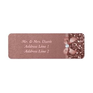 Rose Gold Diamonds Bow Glitter Return Address Label