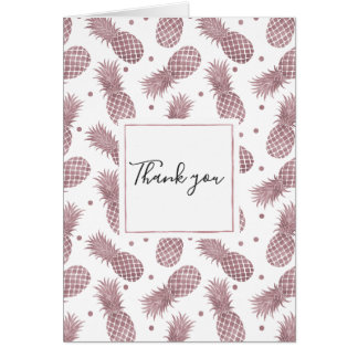 Rose Gold Dots Pineapples Thank you Card