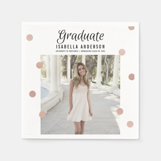Rose Gold Dots & Stripes Modern Graduation Party Paper Napkin