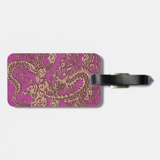 Rose Gold Dragon on Pink Magenta Leather Texture Luggage Tag