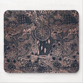 Rose gold dreamcatcher floral doodles navy blue mouse pad