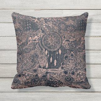 Rose gold dreamcatcher floral doodles navy blue outdoor pillow