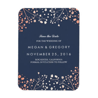 Rose Gold Effect Baby's Breath Save the Date Rectangular Photo Magnet