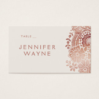Rose gold elegant vintage lace wedding place cards