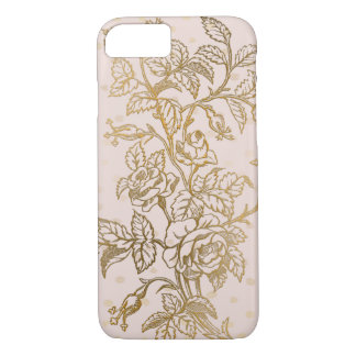 Rose Gold Embossed Outline Roses iPhone 8/7 Case