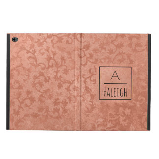 Rose Gold Faux Embossed Vintage Botanical Monogram Powis iPad Air 2 Case