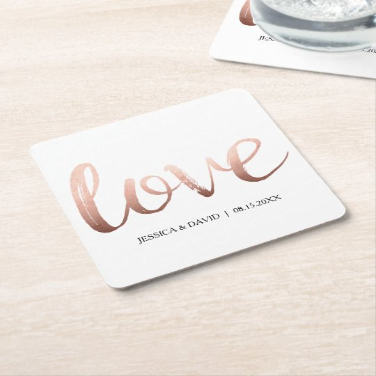 Rose Gold Faux Foil Love Square Paper Coaster
