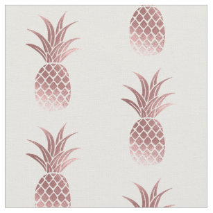 Rose Gold Faux Foil Pineapple Fabric