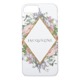 Rose Gold Faux Geometric Modern Peony Eucalyptus Case-Mate iPhone Case