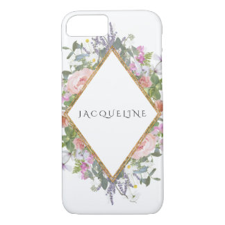 Rose Gold Faux Geometric Modern Peony Eucalyptus iPhone 8/7 Case
