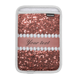 Rose Gold Faux Glitter and Diamonds Personalized iPad Mini Sleeve
