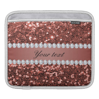 Rose Gold Faux Glitter and Diamonds Personalized iPad Sleeves