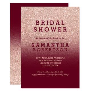 Rose gold faux glitter burgundy bridal shower card