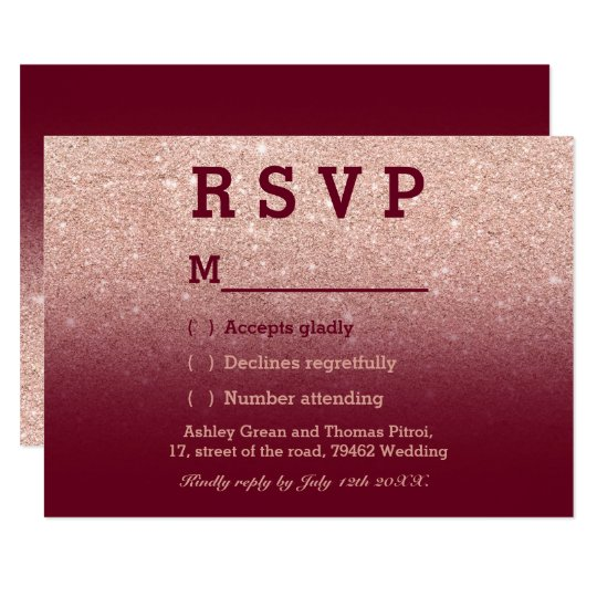 Rose gold faux glitter burgundy ombre RSVP wedding Card