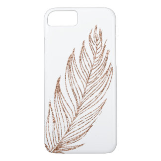 Rose Gold Faux Glitter Feather iPhone 8/7 Case