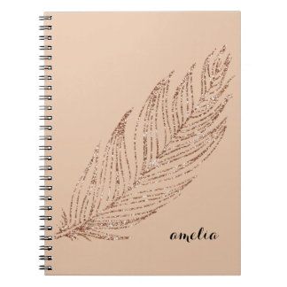Rose Gold Faux Glitter Feather Personalized Spiral Note Book