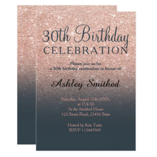 Rose gold faux glitter grey ombre 30th birthday card