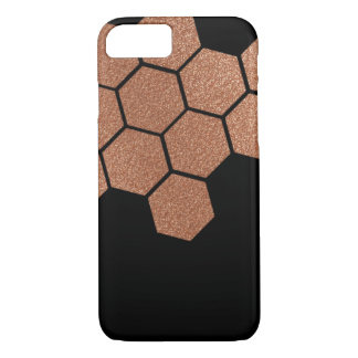 Rose Gold Faux Glitter honeycomb on Black iPhone 7 Case