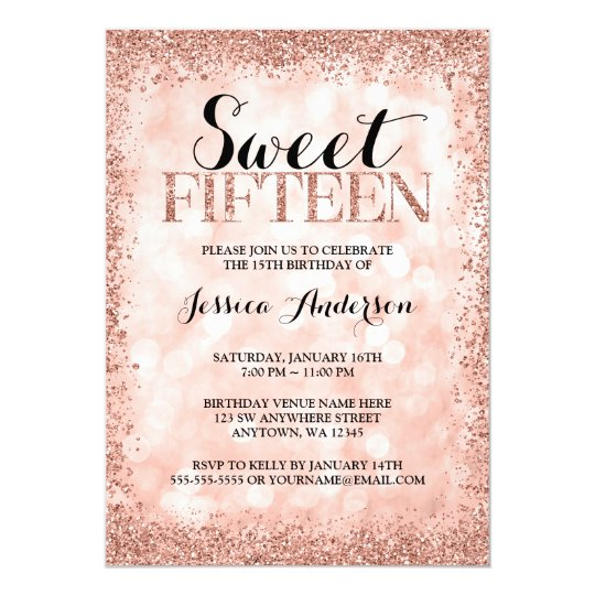 Rose Gold Faux Glitter Lights Sweet 15 Quinceanera Invitation