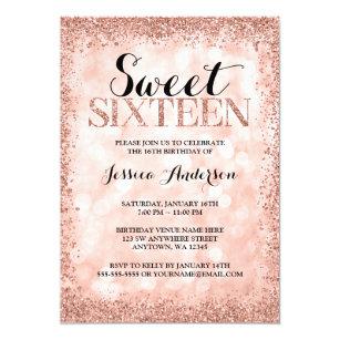 Sweet 16 invitations zazzle rose gold faux glitter lights sweet 16 birthday card filmwisefo