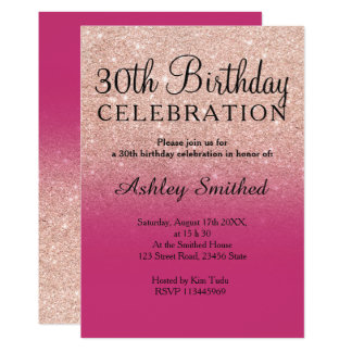 Rose gold faux glitter magenta ombre 30th birthday card