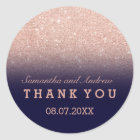 Rose gold faux glitter navy blue ombre Thank you Classic Round Sticker