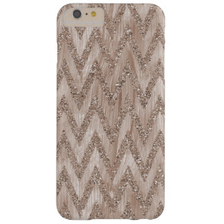Rose Gold Faux Glitter Paint Chevron Stripes Barely There iPhone 6 Plus Case