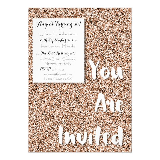Rose Gold Faux Glitter Party Invitation