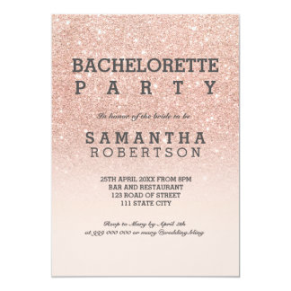 "Rose gold faux glitter pink bachelorette party 5"" x 7"" invitation card"