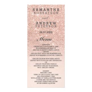 Rose gold faux glitter pink bilingual wedding menu rack card