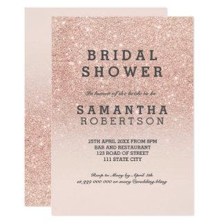 "Rose gold faux glitter pink bridal shower 5"" x 7"" invitation card"
