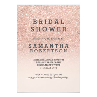 "Rose gold faux glitter pink bridal shower 5"" x 7"" invitation card"
