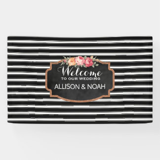 Rose Gold Faux Glitter Pink Floral Stripes Wedding Banner