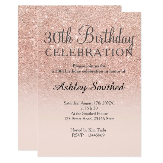 Rose Gold Faux Glitter Pink Ombre 30th Birthday Card