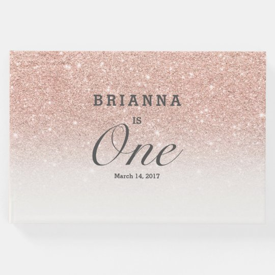 Rose gold faux glitter pink ombre baby One Guest Book