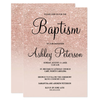 Baptism invitations zazzle ca rose gold faux glitter pink ombre baptism card stopboris Image collections