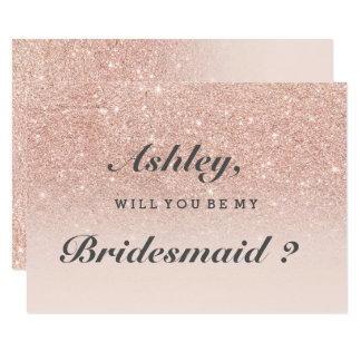 """Rose gold faux glitter pink ombre be my bridesmaid 3.5"""" x 5"""" invitation card"""