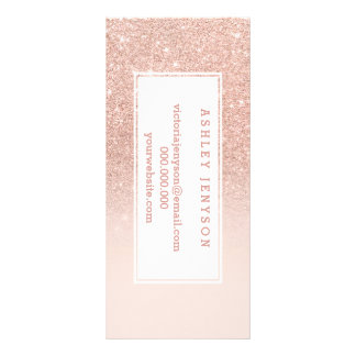 Rose gold faux glitter pink ombre business details rack card