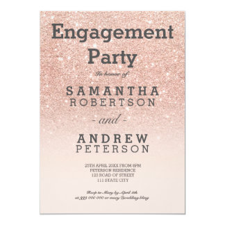 """Rose gold faux glitter pink ombre engagement party 5"""" x 7"""" invitation card"""