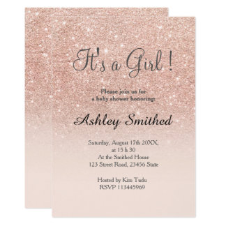 """Rose gold faux glitter pink ombre girl baby shower 5"""" x 7"""" invitation card"""