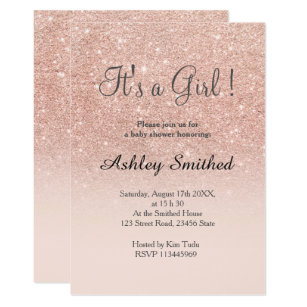 Invitations announcements zazzle ca rose gold faux glitter pink ombre girl baby shower card stopboris Choice Image
