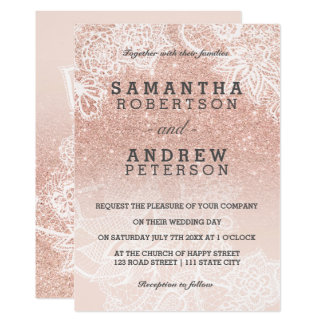 Rose gold faux glitter pink ombre lace wedding card