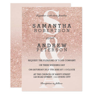 Rose gold faux glitter pink ombre monogram wedding card