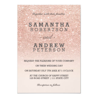 """Rose gold faux glitter pink ombre wedding 5"""" x 7"""" invitation card"""